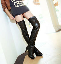 sexy womens over the knee thigh legs boots high heels platform nightclub shoes