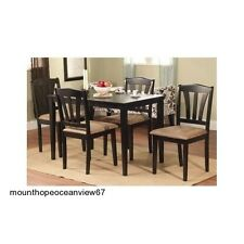 Modern 5 Piece Dining Set Table Chairs pc Dinner Dinette Room Furniture Black