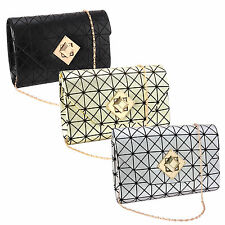 Retro Lattice Grid Frame Cross Chic Bar Pattern Envelope Clutch Purse Turn Lock