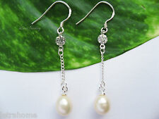 925 Stamped Sterling Silver Real Cultured Freshwater Pearl Chain Drop Earrings