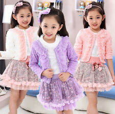 Priness Girls Flowers Party Dress Kids Lace Long Sleeved Skirt Three Piece Suit
