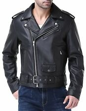 Airborne Leathers Mens Classic Motorcycle Cow Leather Jacket