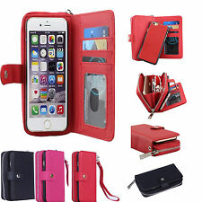 PU Leather Wristlet Cash Clutch Wallet Card Slot Phone Case For iPhone 6 & Plus