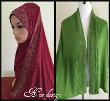 #2 Women Cotton Jersey Strech Long Scarf Hijab with Rhinestones border(NoTax).