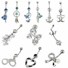 316L Surgical Steel Crystal Rhinestone Belly Button Navel Bar Ring Piercing~ US