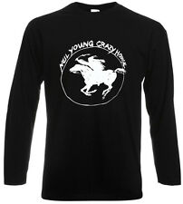 Neil Young and Crazy Horse Ragged Glory Tour Long Sleeve Black T-Shirt Sz S-3XL