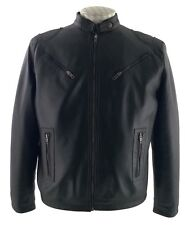 Biker Style Fitted Leather Jacket in Black All Sizes
