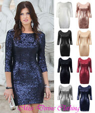 WOMENS 3/4 SLEEVE SEQUIN EMBELLISHED FULLY LINED STRETCH FITTED XMAS PARTY DRESS