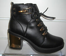 Womens Truffle Black Shoe Ankle Boots With Gold Heel