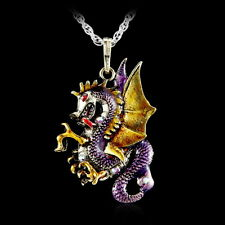 Dragon Necklace Pendant Jewelry Antique Retro Fire Sweater Chain Crystal Gift