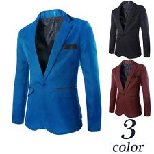 Fashion Stylish Mens Slim Fit One Button Formal Dress Blazers Jacket Coat Suit