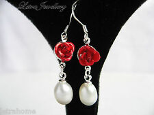 925 Stamped Silver Cultured White Freshwater Pearl Red Rose Drop Earrings Gifts