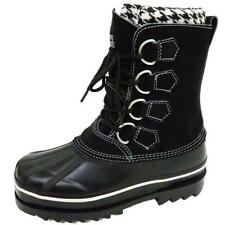 LADIES FLAT BLACK SNOWY CREEK WINTER SNOW ICE RAIN WARM BOOTS SHOES SIZES 3-8