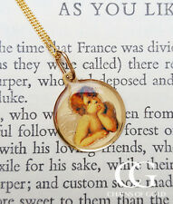"9ct Yellow Gold Round Cherub Pendant on 14"" or 18"" Curb Chain CHRISTENING GIFT"