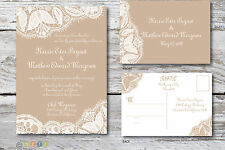 100 Personalized Rustic Lace Wedding Invitations & Post Card RSVP Any Color