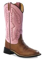 New Old West Women's Square Toe Cowgirl Boots - Tan/Pink