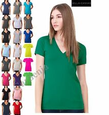 Bella + Canvas  6035 Deep V-Neck Jersey T-Shirt Short Sleeve Women Tee