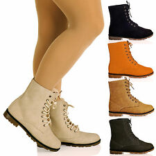 D4Z WOMNENS BOOTS LADIES FLAT LACE UP MILITARY WALKING COMBAT ANKLE FLAT SIZE