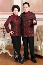 dard red Chinese women's/men'/ lovers silk/satin clothes/jacket/coat s-3xl
