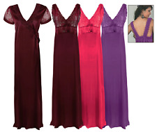 SATIN LONG CHEMISE NIGHT DRESS NIGHTDRESS NIGHTIE SLIP ROBE GOWN 8-16
