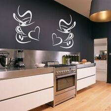 2 Coffee Cups Kitchen Wall Stickers Vinyl Art Decals Cafe Diner Hearts DIY