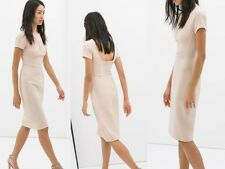 ZARA pencil wiggle shift tulip midi bodycon nude beige dress new  Sold Out S L