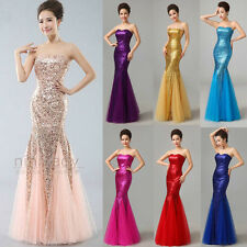 Sequins Long Prom Ball Party Gown Evening Bridesmaid Dress Size 6 8 10 12 14 16