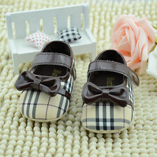 New Baby Girls Sweet Bowknot Checks Dress Shoes Cack 3-18M Soft-soled Prewalkers