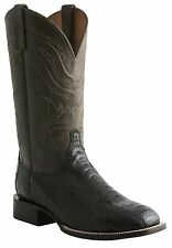 Lucchese M2640 Mens Black Ostrich Leg Leather Western Cowboy Boots