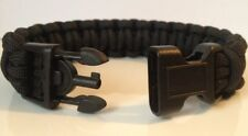 Police Tactical All Black Paracord Survival Bracelet w/ Handcuff Key Buckle