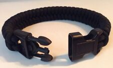 Police Black Tactical Fishtail 550 Paracord Bracelet w/ Handcuff Key Buckle