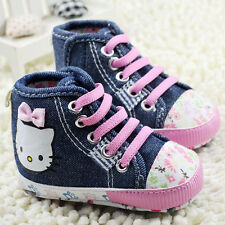 Hot !Baby Girls Pink LACES Soft Sole Crib Shoes Size 0-18 Months-B034