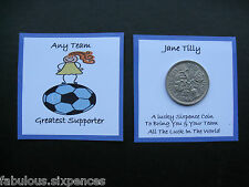 Football Lucky Sixpence Any Name /Team * FULLY PERSONALISED  Blue Girl