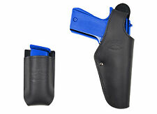 New Barsony Black Leather OWB Holster + Mag Pouch FN, Glock Full Size 9mm 40 45