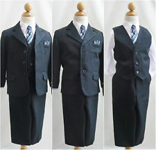 Navy blue pinstripe white toddler teen boy ring bearer bridal party formal suit