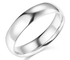 Solid 14K White Gold Plain Comfort Fit Wedding Band Anniversary Ring Mens Women