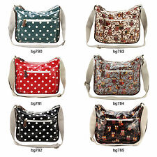 Oilcloth Polka Dots Owl Satchel Girls Women Crossbody Double Zipper Shoulder Bag