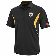 Pittsburgh Steelers Embroidered Dri-Fit Black Field Polo Golf Shirt