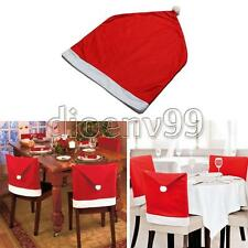 Santa Clause Red Hat Chair Back Cover Christmas Gift Dinner Table Party Decor