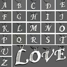 New Charm Crystal Stainless Steel A-Z Letter Initial Alphabet Pendant Necklace