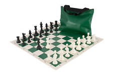 USCF Sales Chess Set Combo - Single Weighted Pieces | Vinyl Chess Board | Standa