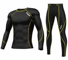 FDX Mens Compression Armour Base layer Top + legging running under arm Skin Fit