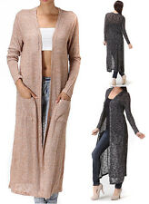Maxi Cardigan Knit Sweater Long Full Length Duster Open Front Draped S M L