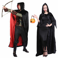 Scary Medieval Black Red Cloak Fancy Dress Hooded Cape Robe Cosplay Costume