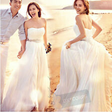 White Ivory Beaded Formal Bridal Gown Beach Wedding Dresses Size 6 8 10 12 14 16