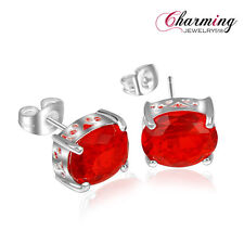 Gorgeous Oval Garnet Pink Topaz Gemstone Silver Stud Earrings For Xmas Gift 5/8""
