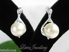 White Round Shell Pearl Platinum Polished Plated Drop Stud Stunning Earrings
