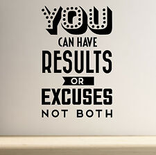 Results or Excuses Motivational Wall Art Decal Yoga Gym Fitness Workout Health