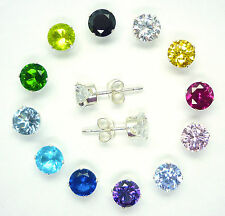 925 STERLING SILVER CUBIC ZIRCONIA STUD EARRINGS ROUND OR PRINCESS SQUARE