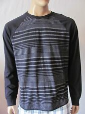 New LUCKY BRAND Mens Grey Striped Casual Colorblock Raglan Crew Tee Shirt $49